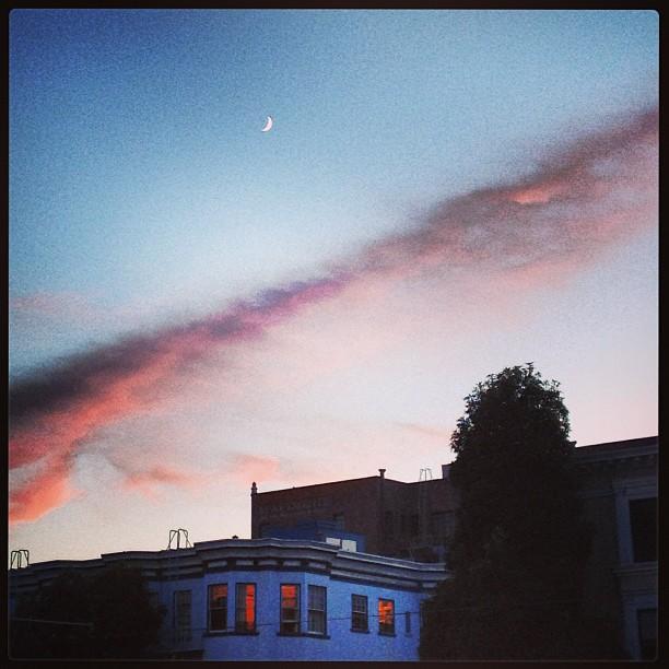 dusk moon and sky